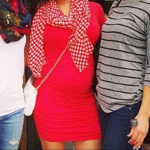 Splendid Red Ruched Dress